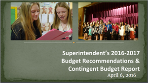superintendent's budget recommendations